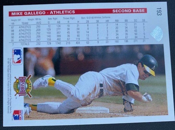1992 Upper Deck Athletics Mike Gallego 193 Item Image
