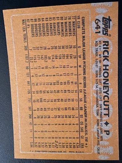 1988 Athletics Rick Honeycutt 641 Item Image