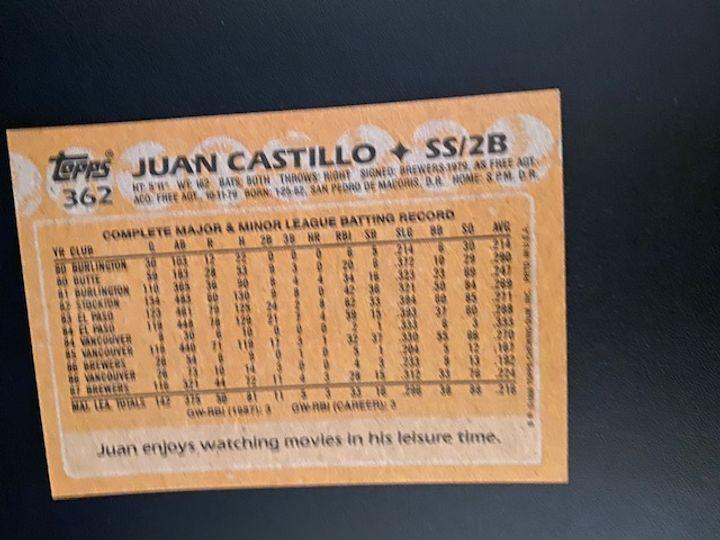1988 Topps Brewers Juan Castillo 362 Item Image